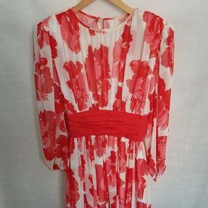 Women's 1980s Victor Costa Red & White Dress